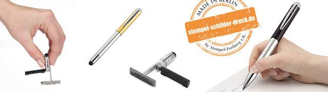 Kugelschreiber Stempel | Kuli und Stempel in einem! Selbstfärbender, handlicher Stempel an einem Kugelschreiber. Ideal für jeden Außendienstler!