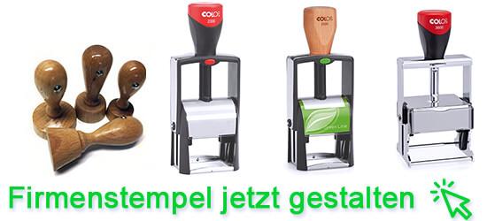 Firmenstempel aus Holz, Kunststoff oder Metall bestellen